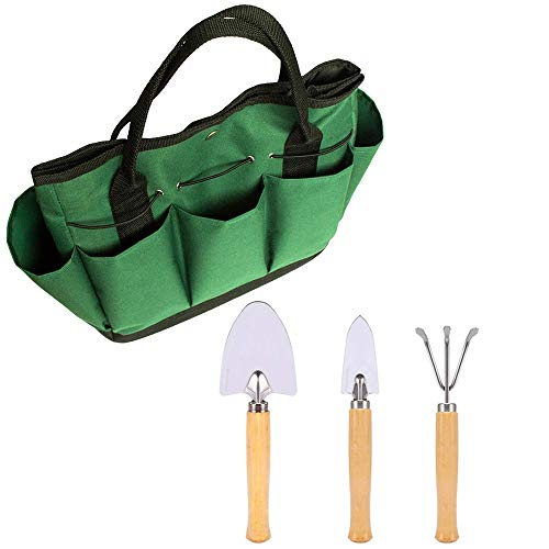 Ginode Gardening Tool Storage Bag with Mini Garden Tool Set, Heavy Duty Gardening Kit, 2 Trowels + 1 Rake, Garden Tote Gardening Tools Organizer Tote Lawn Yard Bag Carrier by Ginode