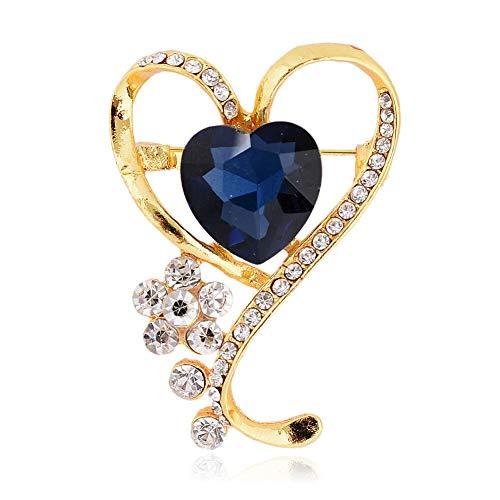 61 Style Women Retro Rhinestone Crystal Flower Wedding Bridal Corsage Brooch Pin (StyleID - #25_ Blue Loving 5.5CM3.4CM) ()