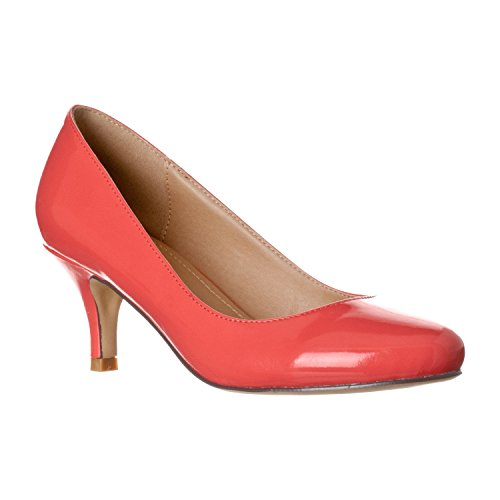 Riverberry Women's Ruby Round Toe, Kitten Low Height Pump Heels, Coral Patent, 6