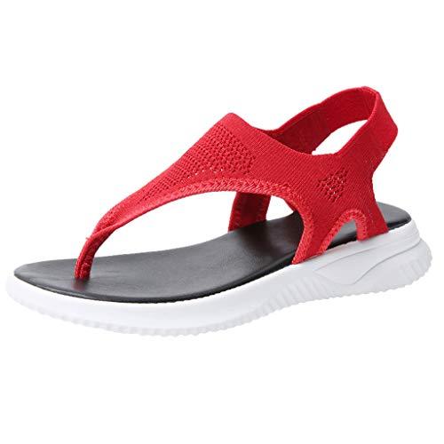 Kauneus Summer Sandals for Women Thong Design Gladiator Comfy Flat Sole Memory Foam Insole Mesh Sandals Red ()