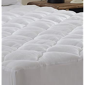 Amazon Com Extra Plush Bamboo Fitted Mattress Pad Topper