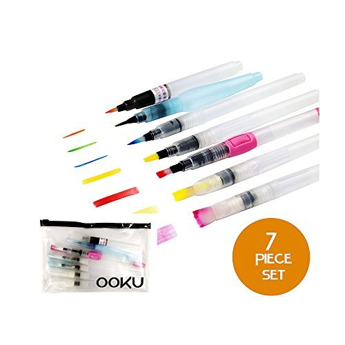 OOKU Watercolor Brush Pens 8 Piece Set - 7 Multi Purpose Watercoloring Brush pens - Bonus Pen Brushes Holder Pouch, Artist Grade Watercolor Brushes for Water Color Painting & Lettering