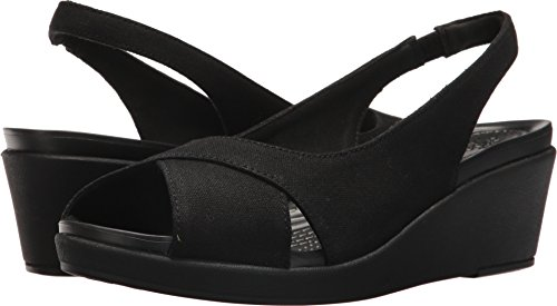 Crocs Women's Leigh Ann Slingback Wedge Sandal, Black/Black, 11 M US by Crocs