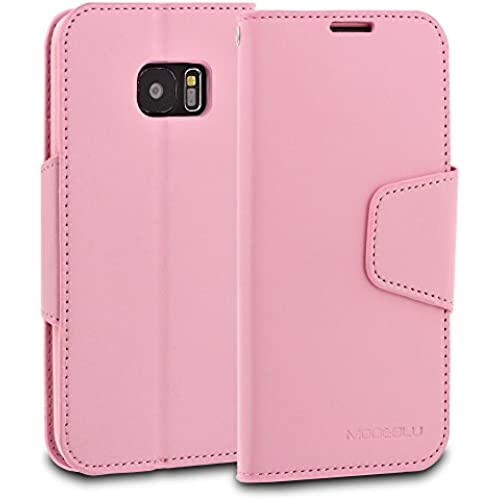 Galaxy S7 Edge Case, ModeBlu [Classic Diary Series] [Pink] Wallet Case ID Credit Card Cash Slots Premium Synthetic Sales