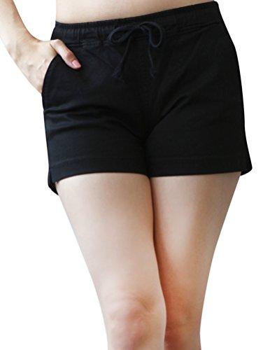 Elastic Waist Twill Capris (Mascara Women's Colored Stretch twill Drawstring Elastic Waist Shorts Black)