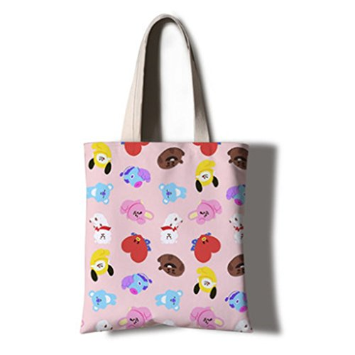 Bosunshine BTS Bangtan Boys EcoFriendly Printed Canvas Tote Bag Shoulder Bag Messenger Bag Perfect for Shopping, Laptop, School Books (13.8XX15.7'')