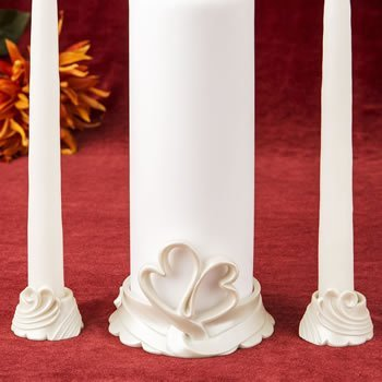 Candle Heart Holder Set - Double heart themed Unity Candle holders
