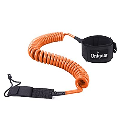 Premium 10' SUP Leash, Paddle Leash Coiled Swivel Ankle Cuff for Standup Paddle Boarding and Surfboarding Surfing