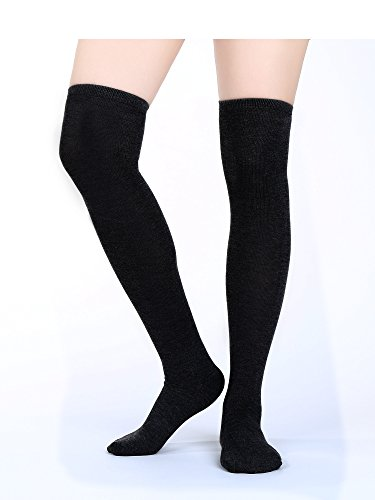 dfee4f516 Satinior Women Knee High Socks High Thigh Stockings with Colorful Strips  for Cosplay