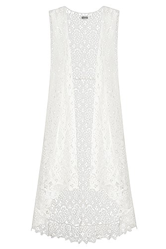 Lace Open Long Sleeveless Top Cardigan Crochet Vest Bikini Cover up Summer Beachwear (Free Size, White)