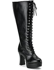 Funtasma Womens PLUS SIZE 4 Inch Sexy WIDE WIDTH WIDE CALF Platform Knee High Boot Black