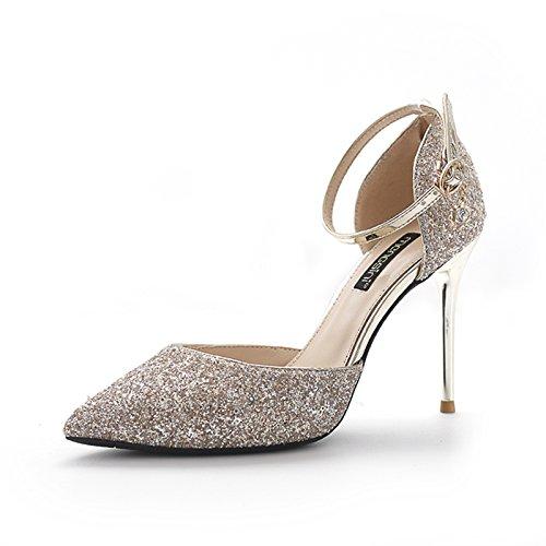 De Plata Zapatos Tacón Fina Verano Con Zapatos Hollow De Palabra Una Con Heels Sandalias Golden Talón Boda High GAOLIM De Secuela n0Yxt7O