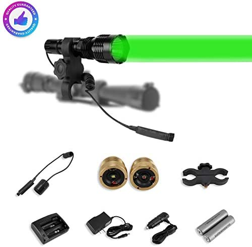 LUMENSHOOTER LS250 Long Range Hunting Light Kit,Green Red White Interchangeable LED Modules,High Power Rechargeable Night Vision Spotlight,Predator Flashlight Torch