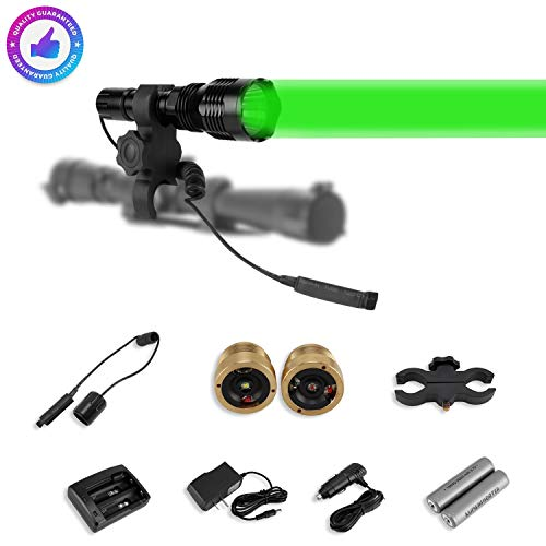 LUMENSHOOTER LS250 Long Range Hunting Light Kit,Green Red White Interchangeable LED Modules,High Power Rechargeable Night Vision Spotlight,Predator Flashlight Torch for Coon Coyote Hog Fox and Varmint best to buy