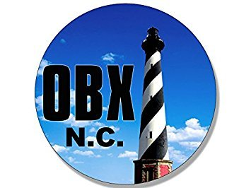 MAGNET Round OBX Lighthouse Magnet(north carolina nc beach logo outer banks) 4 x 4 inch