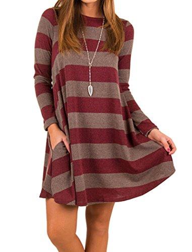 Long Sleeve Printed Tunic Dress (Halife Women's Long Sleeve Striped Printed Casual Tunic Dress With Pockets Wine Red S)