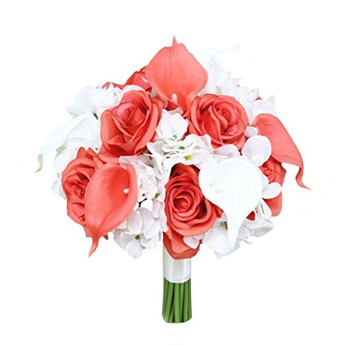 Beautiful Hand-tied bouquet-hydrangea Rose Calla lily-colors in Navy Wine Burgundy Fuchsia Raspberry Mint Spa Coral Turquoise Horizon Blue (White/Coral, 7.5