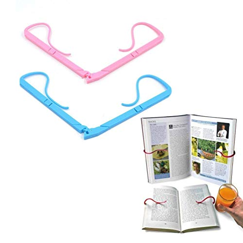 Outside Reading - 2pcs Adjustable Hands Free Reading Bracket Book Pages Holder for Reading Portable Book Stand Support Clamp Foldable Relaxed Book Support Clip for Office Outdoor & Outside Reading Stand (Multicolored)