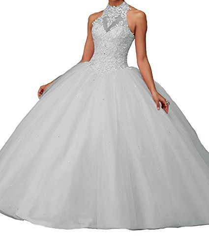 Women's Lace Pageant Quinceanera Dresses Ball Gown Puffy Halter Prom Evening Gowns Silver Custom Size