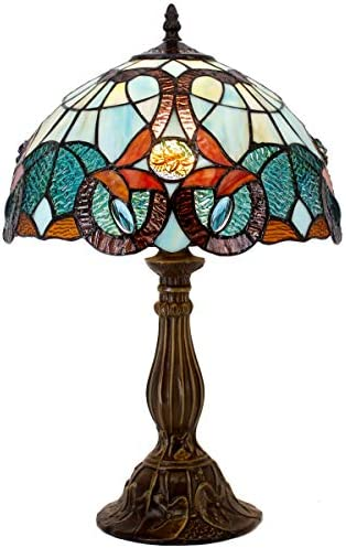Tiffany Lamp Sea Blue Yellow Stained Glass and Crystal Bead Dragonfly Style Table Lamps Height 18 Inch for Living Room Antique Desk Beside Bedroom S128 WERFACTORY