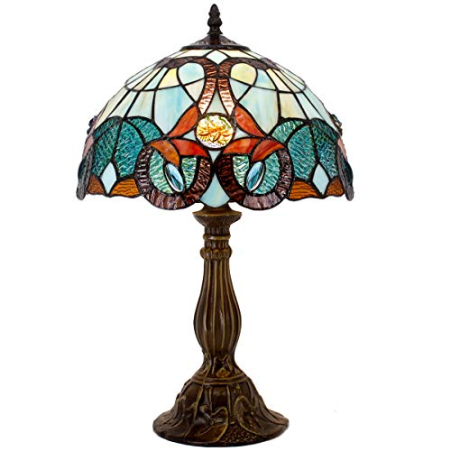 Tiffany Table Lamp Stained Glass Green BlueFloral Table Lamps Wide 12 Height 18 Inch for Living Room Antique Desk Beside Bedroom with Antique Style Zinc Base Sets S802 WERFACTORY ()
