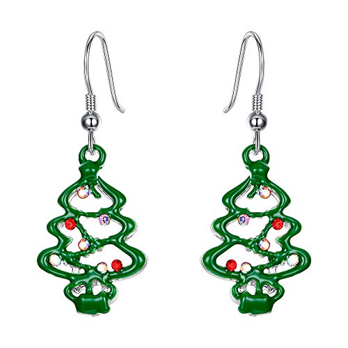 EVER FAITH Christmas Gift Green Evergreen Tree Hook Dangle Earrings Austrian Crystal Silver-Tone (Jewellery Christmas Tree)