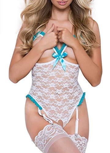 bikini Set del capezzoli fenditura Donna Bianco vestito Cavallo da esotico notte floreale di maglia aperto xOxvAgqwz