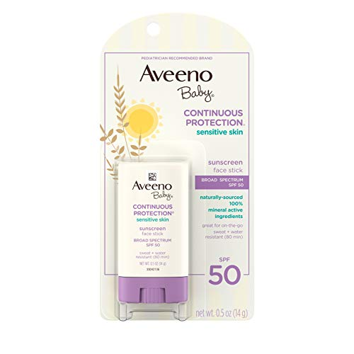 Aveeno Baby Continuous Protection Sensitive Skin Mineral Sunscreen Stick for Face with Broad Spectrum SPF 50, Zinc Oxide & Titanium Dioxide, Oil-Free & Water-Resistant, Travel-Size, 0.5 oz (Pack of 3) ()