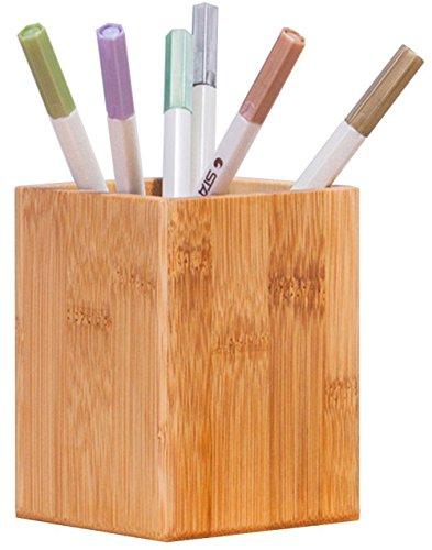 Bamboo Wood Desktop Pen Pencil Holder, Makeup Brush Cup, Office Supplies Organizer Caddy ()