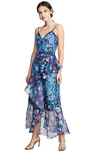 - Marchesa Notte Women's Sleeveless Colorblock High Low Gown, Blue, 2