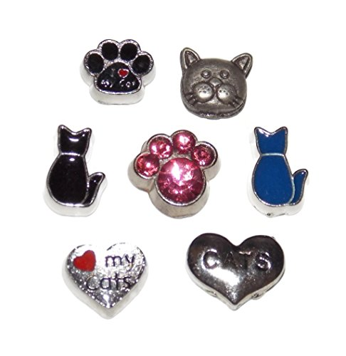 Cat Lover Floating Locket Charm 7 Pack with Paws, Love My Cats and I heart my Cat - I Love My Cat Charm