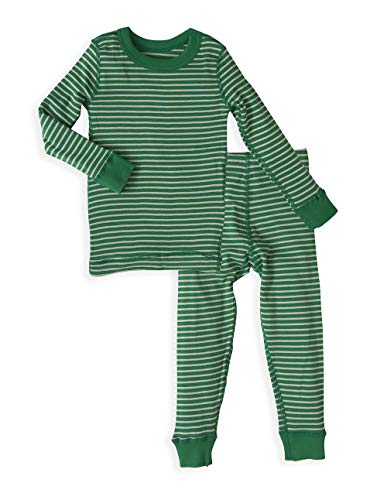 Baby Long Sleeve Pajama Set - 100% Soft Organic Turkish Cotton- Unisex Boys/Girls - Forest Green Stripe for 12-18 Months