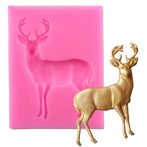 AT27clekca Cake Mould Baking Accessories Christmas Deer Silicone Mold Fondant Cake Chocolate Cookie Decorating Mould