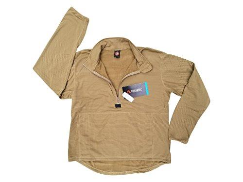 Genuine Mens Fleece - USMC Genuine Issue Coyote Brown Grid Fleece Quarter Zip Pullover (X-Large)