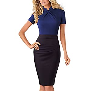 HOMEYEE Women's Short Sleeve Business Church Dress B430