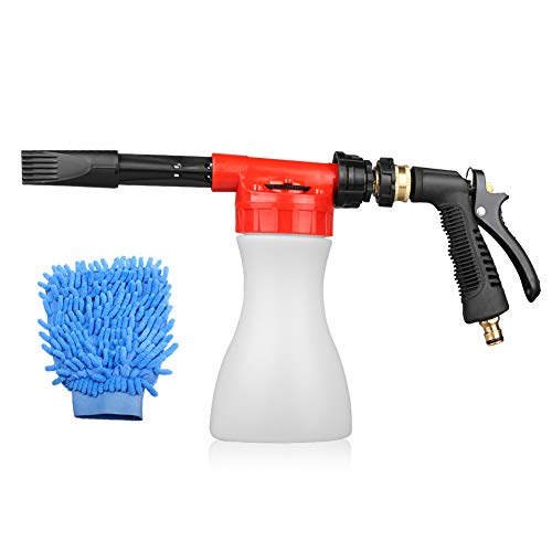 GES Car Foam Gun, Adjustable and Blaster Car Wash Sprayer with 0.23 Gallon Bottle, Adjustment Ratio Dial Foam Sprayer Fit Garden Hose for Car Home Cleaning and Garden