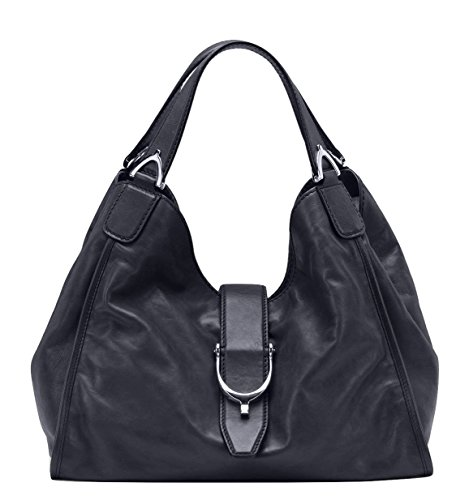 Gucci-Stirrup-Black-Washed-Soft-Calf-Leather-Medium-Hobo-Bag-296856-1000