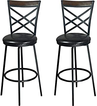 Amazon Com Ehemco 24 29 Swivel Metal Barstool With Double X Back Faux Leather Seat In Espresso Set Of 2 Kitchen Dining