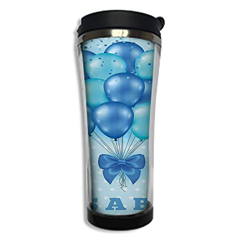 Stainless Steel Insulated Coffee Travel Mug,Spill Proof Flip Lid Insulated Coffee cup Keeps Hot or Cold 8.45 OZ(250 ml)Customizable printing byGender Reveal Decorations,Balloons on Nostalgic Polka Dot (Polka Dot Cafe K Cups)