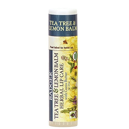 Badger Soothing Balms (Badger - Certified Organic Herbal Lip Balm Stick Tea Tree & Lemon Balm with Cocoa Butter - 0.25 oz.)