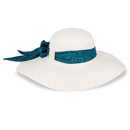 Laurel Burch Teal Swirl Band White Sun Hat