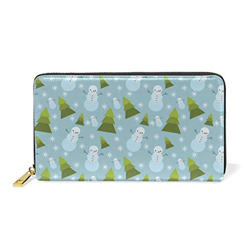 8' Leather Bi Fold Wallet - Tall Christmas Tree Snowman SnowflakeWomen Large Capacity Genuine Leather Bifold Multi Card Organizer travel Wallet with Zipper Pocket, Stylish And Portable Purse.