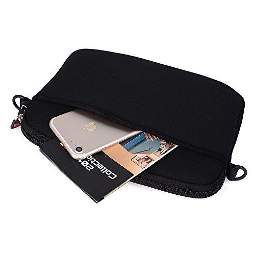 NuVur Slim Lightweight Shoulder Strap Messenger Bag with Front and Rear Pockets for 8.0, 8.9, 9.1, 9.6, 9.7, 10 Inch Tablets   Paisley Black