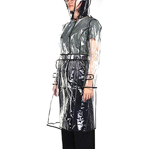 Manteau de Junerain transparent de pluie pluie Noir à long Manteau Femmes Coloré capuche Bord UcUTwWBrq