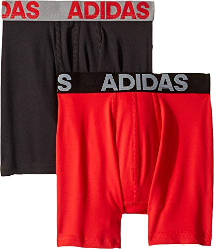adidas Boys / Youth Sport Performance Climalite Boxer Brief Underwear (2-Pack)multi small, black/solid red/solid red/black, Small