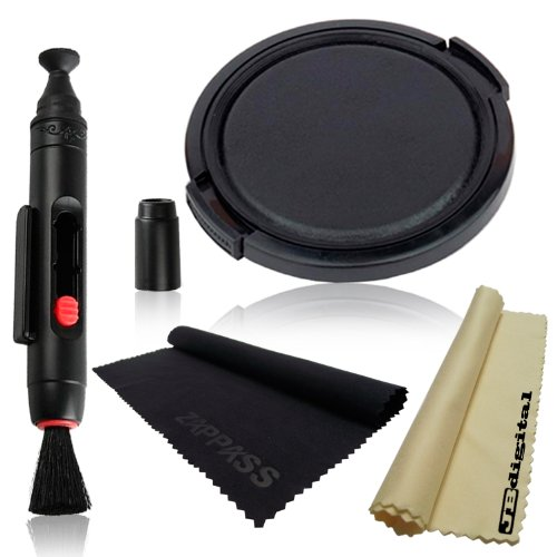 Lens Cap Kit for Fujifilm Finepix S700 S5800 S5700. Includes: 46mm Lens Cap Cover + Lens Cleaning Pen System + 2 Pcs (1 Black, 1 Yellow) JB Digital Microfiber Cleaning Cloths