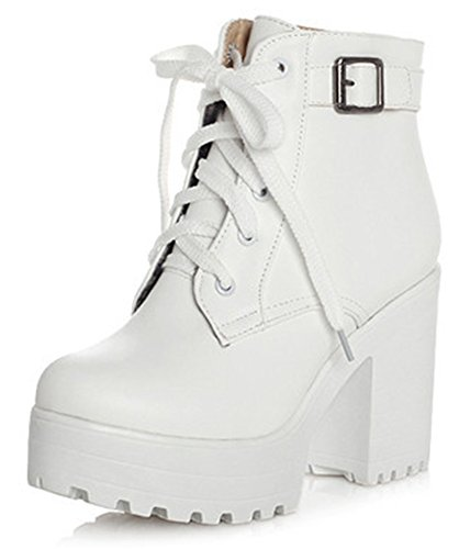 Wedge Chunky Boots - SHOWHOW Women's Comfort Waterproof Lace Up High Wedges Platform Boots White 7 B(M) US