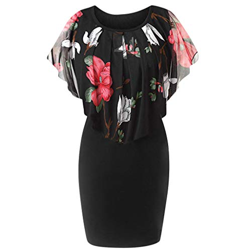 TnaIolral Women Dresses Casual Plus Size Rose Print Chiffon O-Neck Ruffles Mini Skirt (Black2, L)