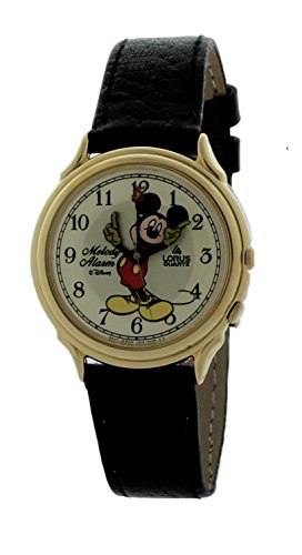 Lorus Moving Hands Disney Mickey Mouse Melody Alarm / Musical Watch with Black Leather Band