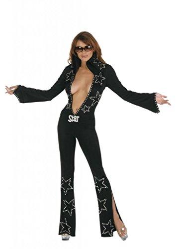 Nom de Plume, Inc Women's Sexy Star Elvis Jumpsuit Costume Large Black